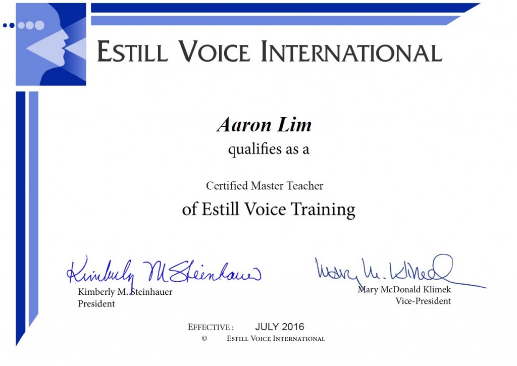 Estill Voice International Certified Master Teacher Certificate Aaron Matthew Lim